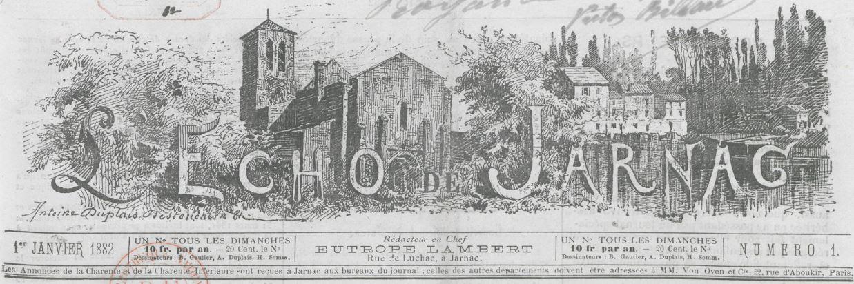 Photo (BnF / Gallica) de : L'Écho de Jarnac. Jarnac, 1882-1914. ISSN 2107-8572.