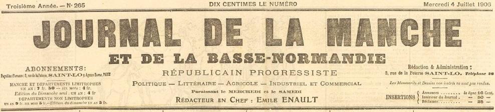 Photo (BnF / Gallica) de : Journal de la Manche et de la Basse-Normandie. Saint-Lô, 1903-1927. ISSN 2130-4521.