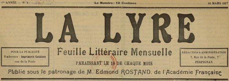 Photo (BnF / Gallica) de : La Lyre. Perpignan, 1917-[1917 ?]. ISSN 2131-7607.