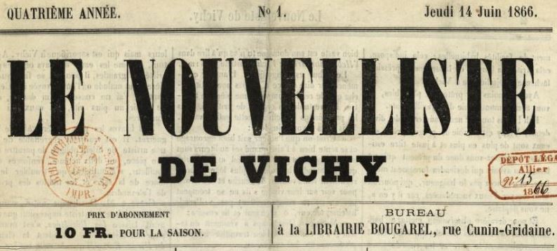 Photo (BnF / Gallica) de : Le Nouvelliste de Vichy. Vichy, 1862-1870. ISSN 2133-1871.