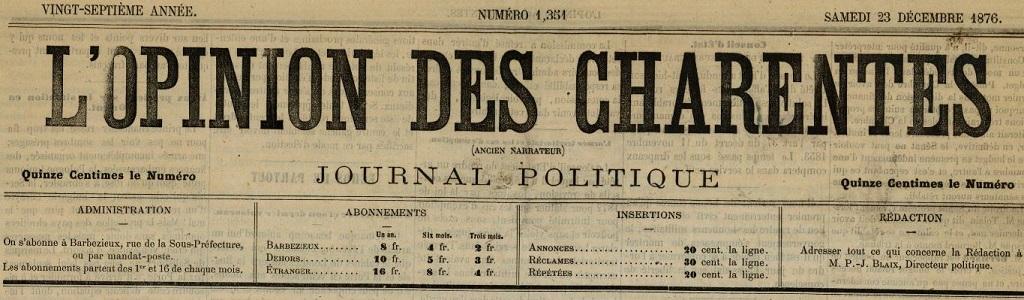 Photo (BnF / Gallica) de : L'Opinion des Charentes. Barbezieux, 1876-1902. ISSN 2103-0987.