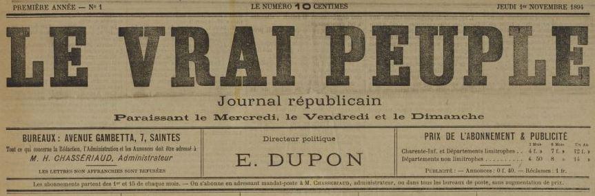Photo (BnF / Gallica) de : Le Vrai peuple. Saintes, 1894-1898. ISSN 2140-3880.