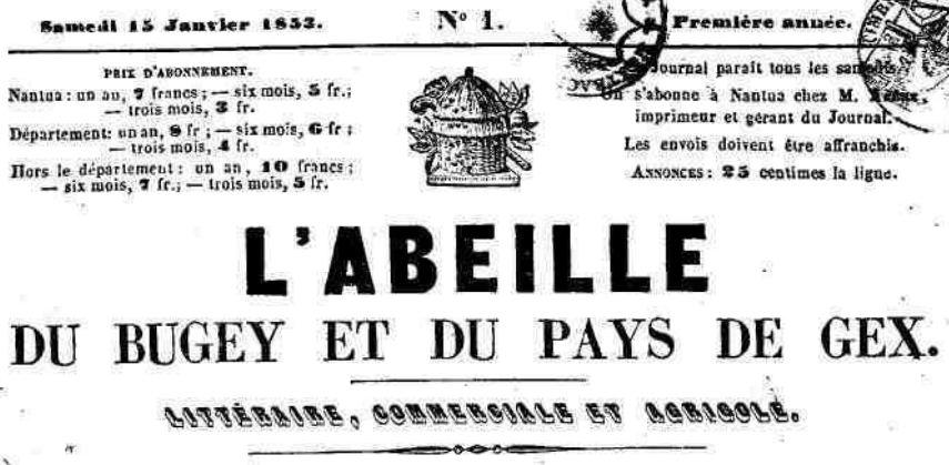 Photo (Ain. Archives départementales) de : L'Abeille du Bugey et du Pays de Gex. Nantua, 1853-1944. ISSN 2120-0602.