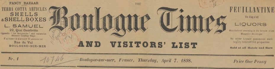 Photo (BnF / Gallica) de : The Boulogne times and visitors' list. Boulogne-sur-Mer, 1898-1899. ISSN 2122-1944.