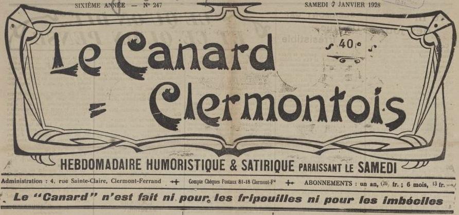 Photo (BnF / Gallica) de : Le Canard clermontois. Clermont-Ferrand, 1923-1940. ISSN 2023-5941.