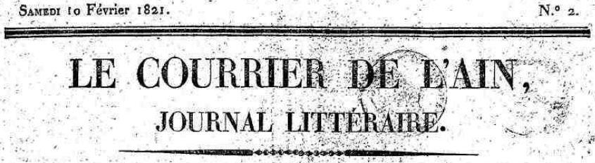 Photo (Ain. Archives départementales) de : Le Courrier de l'Ain. Bourg-en-Bresse, 1821-1944. ISSN 2019-5664.