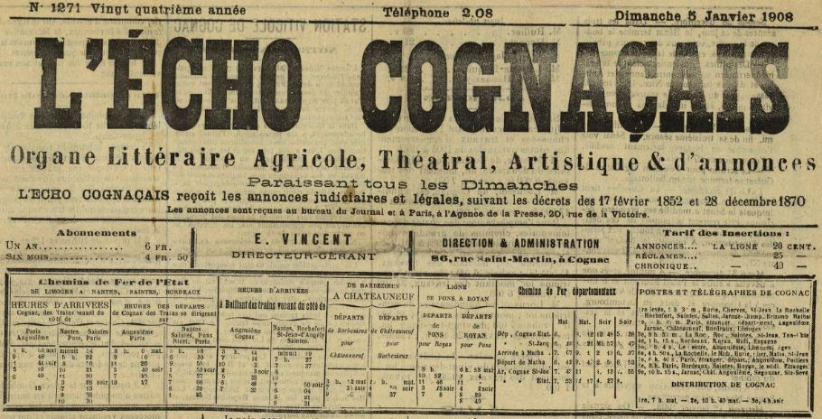 Photo (BnF / Gallica) de : L'Écho cognaçais. Cognac, 1885-[1913?]. ISSN 2100-7381.