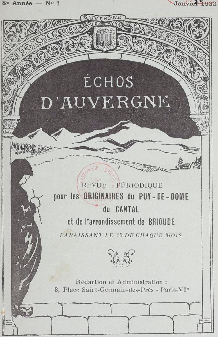 Photo (BnF / Gallica) de : Échos d'Auvergne. Paris, 1925-1937. ISSN 2126-8207.