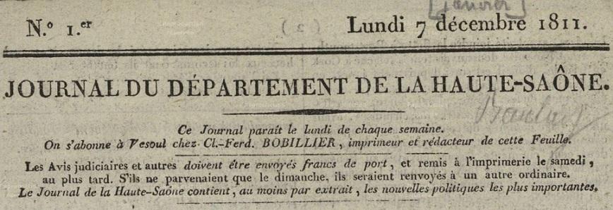 Photo (Haute-Saône. Archives départementales) de : Journal du département de la Haute-Saône. Vesoul: Impr. Bobillier, 1811-1886. ISSN 2025-1254.