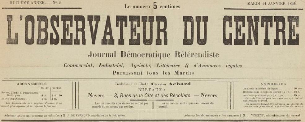 Photo (BnF / Gallica) de : L'Observateur du Centre. Nevers, 1889-1929. ISSN 2133-2460.