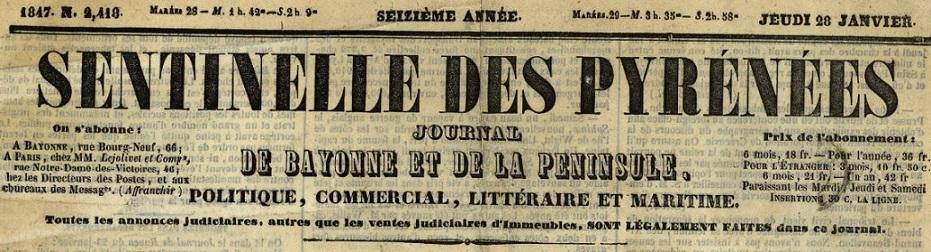 Photo (BnF / Gallica) de : La Sentinelle des Pyrénées. Bayonne: Lamaignère, [1831 ?]-1848. ISSN 2018-3089.