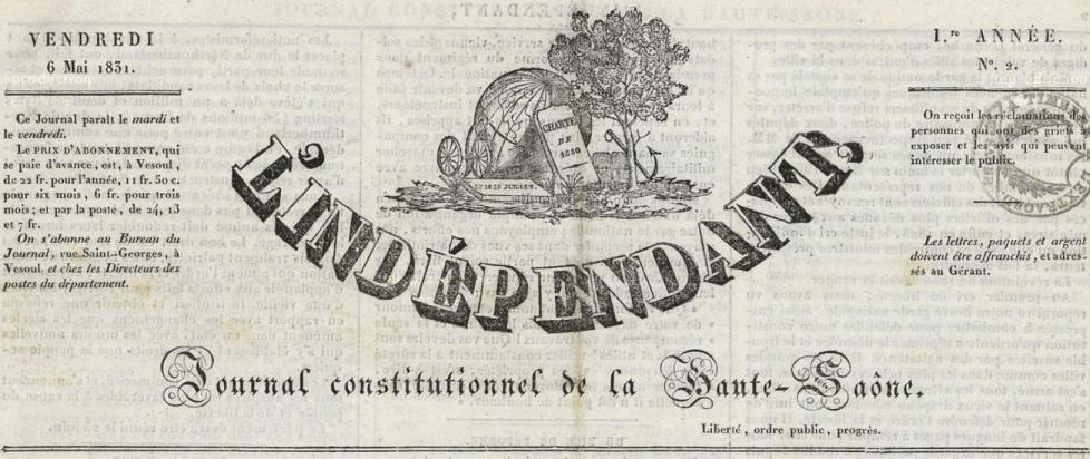 Photo (Haute-Saône. Archives départementales) de : L'Indépendant. Vesoul, 1831. ISSN 2024-3545.