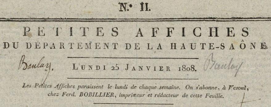 Photo (Haute-Saône. Archives départementales) de : Petites affiches du département de la Haute-Saône. Vesoul, 1808-1810. ISSN 2607-4176.