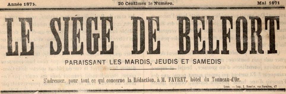 Photo (Universitäts- und Landesbibliothek (Darmstadt, Allemagne)) de : Le Siège de Belfort. Belfort: M. Pélot, Lyon: M. Méra, 1871. ISSN 2646-8506.