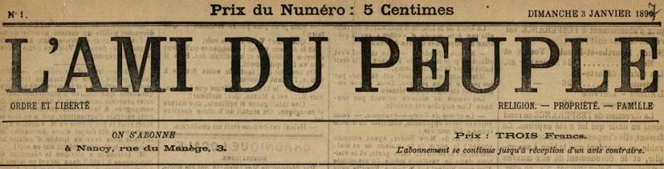 Photo (BnF / Gallica) de : L'Ami du peuple. Nancy: Nicolas Vagner, 1849-1898. ISSN 1963-420X.