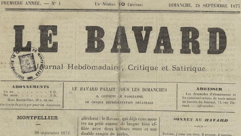 Photo (Montpellier. Bibliothèques municipales) de : Le Bavard. Montpellier, 1873. ISSN 2121-8781.