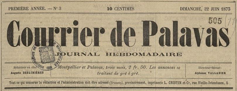 Photo (Montpellier. Bibliothèques municipales) de : Courrier de Palavas. Montpellier, Palavas, 1873. ISSN 2124-7897.