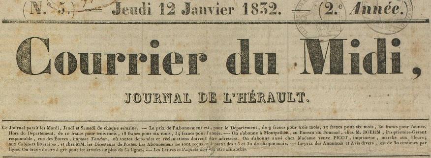 Photo (Montpellier. Bibliothèques municipales) de : Courrier du Midi. Montpellier, 1832-1848. ISSN 2124-8907.