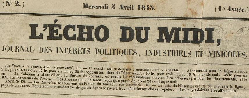 Photo (Montpellier. Bibliothèques municipales) de : L'Écho du Midi. Montpellier, 1843-1852. ISSN 2126-6271.