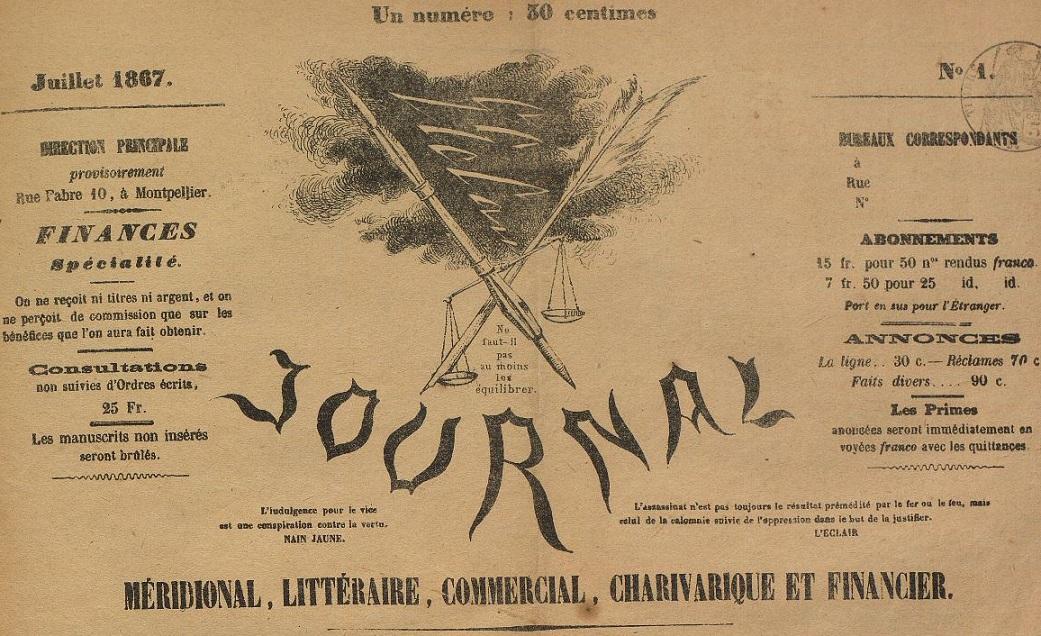 Photo (Montpellier. Bibliothèques municipales) de : L'Éclair. Montpellier, 1867-1868. ISSN 2126-8592.