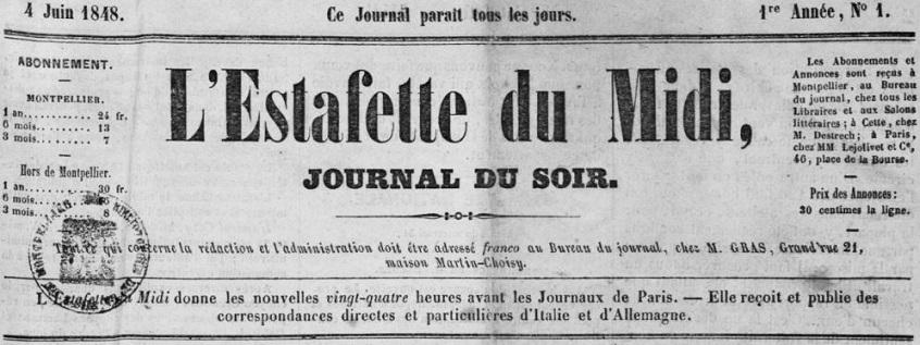 Photo (Montpellier. Bibliothèques municipales) de : L'Estafette du Midi. Montpellier, 1848. ISSN 2127-4789.