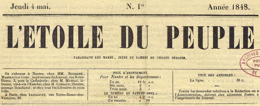 Photo (Nantes. Archives municipales) de : L'Étoile du peuple. Nantes, 1848-1851. ISSN 2127-5750.