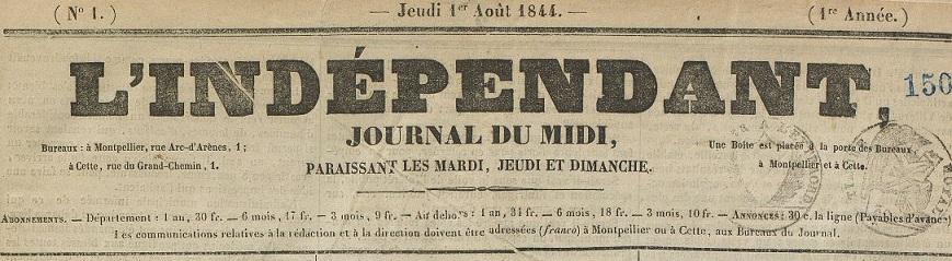 Photo (Montpellier. Bibliothèques municipales) de : L'Indépendant. Montpellier, 1844-1850. ISSN 2129-4291.
