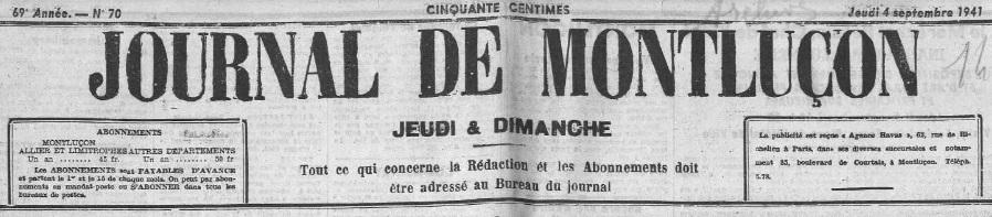 Photo (Allier. Archives départementales) de : Journal de Montluçon. Montluçon, 1864-1944. ISSN 2130-5382.
