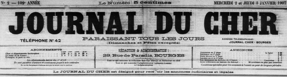 Photo (BnF / Gallica) de : Journal du Cher. Bourges: Jean-Baptiste-Claude Souchois, 1819-1928. ISSN 1256-0200.