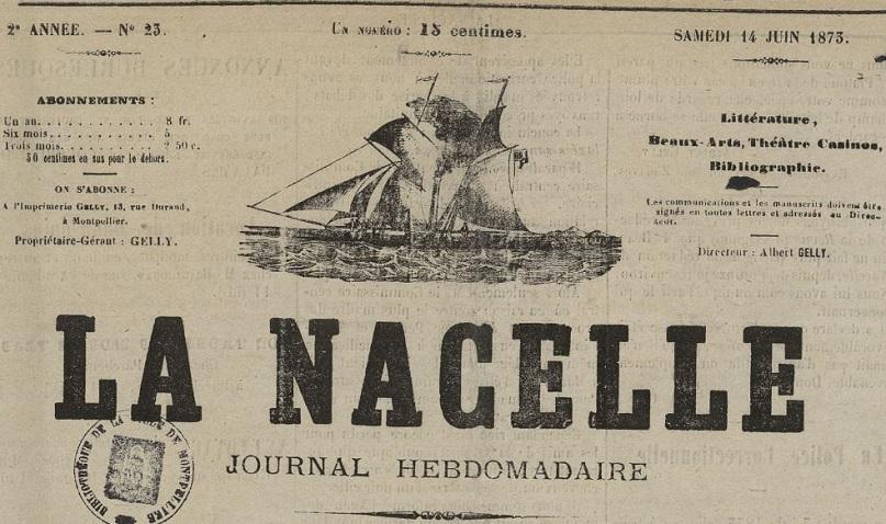 Photo (Montpellier. Bibliothèques municipales) de : La Nacelle. Montpellier, 1872-1873. ISSN 2132-7084.
