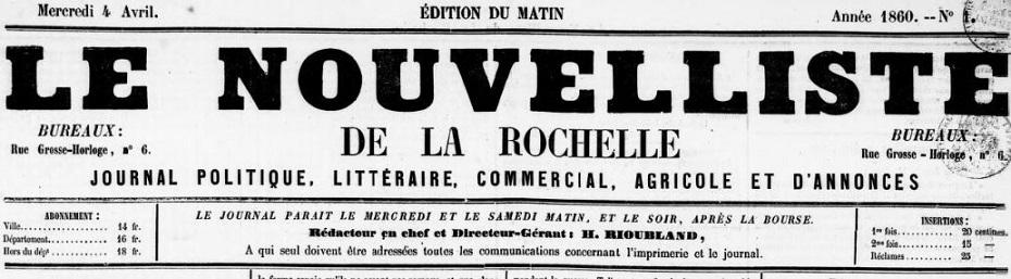 Photo (BnF / Gallica) de : Le Nouvelliste de La Rochelle. La Rochelle, 1860-1862. ISSN 2133-1707.