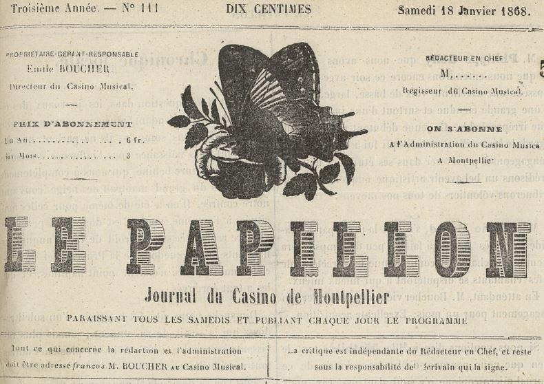 Photo (Montpellier. Bibliothèques municipales) de : Le Papillon. Montpellier, 1863-1869. ISSN 2106-1246.