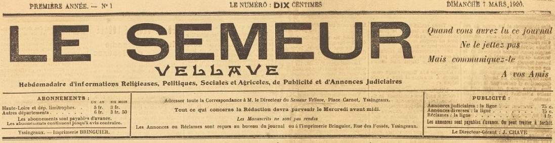 Photo (BnF / Gallica) de : Le Semeur vellave. Yssingeaux, 1920-1922. ISSN 2025-4040.