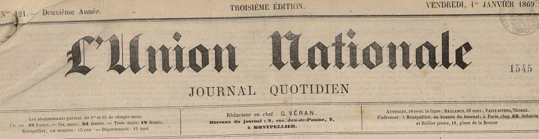 Photo (Montpellier. Bibliothèques municipales) de : L'Union nationale. Montpellier, 1868-1881. ISSN 2139-4709.