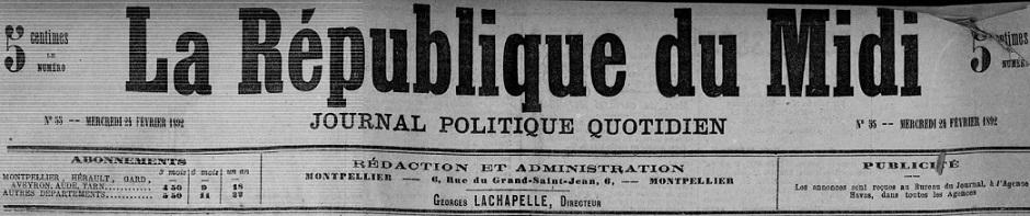 Photo (Montpellier. Bibliothèques municipales) de : La République du Midi. Montpellier, 1892-1893. ISSN 0988-2693.