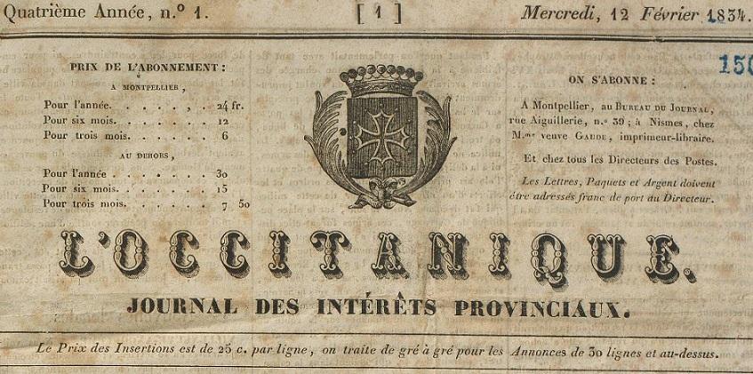 Photo (Montpellier. Bibliothèques municipales) de : L'Occitanique. Montpellier, 1834-1835. ISSN 1149-8846.