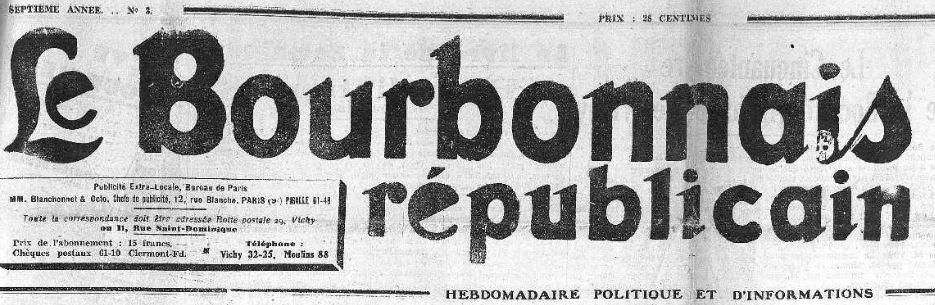 Photo (Allier. Archives départementales) de : Le Bourbonnais républicain. Lapalisse, 1930-[1999?]. ISSN 1286-7365.