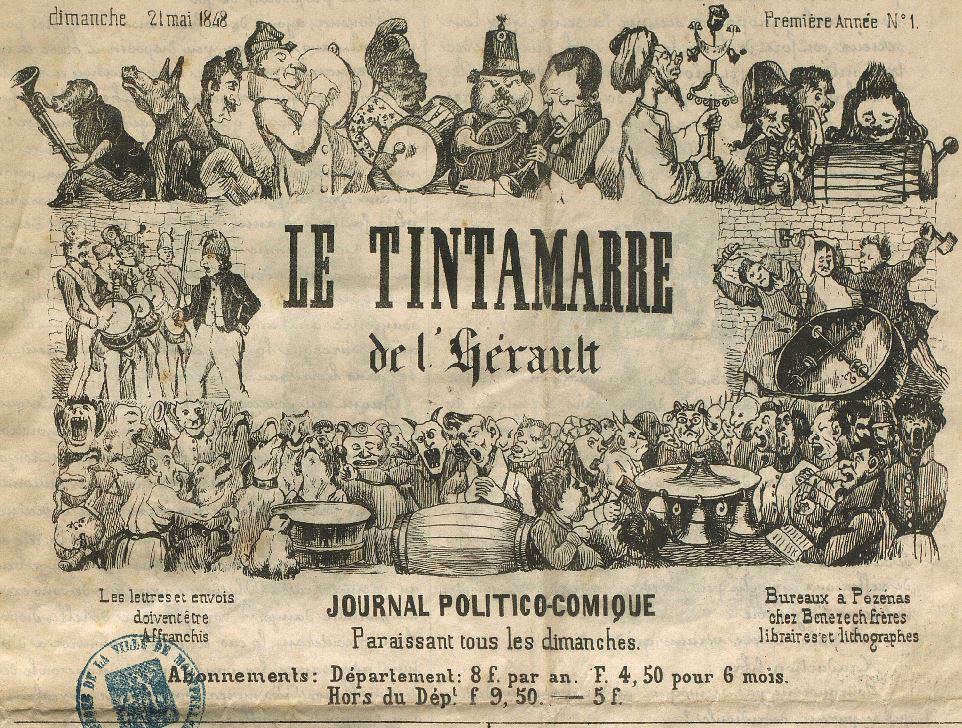 Photo (Montpellier. Bibliothèques municipales) de : Le Tintamarre de l'Hérault. Pézenas: chez Bénézech frères, 1848-1849. ISSN 2110-2740.