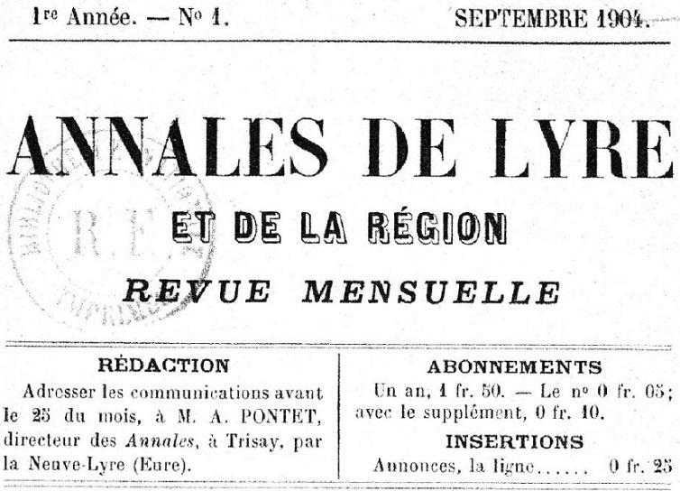 Photo (BnF / Gallica) de : Annales de Lyre et de la région. La Neuve-Lyre, 1904-1927. ISSN 2117-4377.