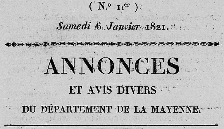 Photo (Bibliothèque municipale (Laval)) de : Annonces et avis divers du département de la Mayenne. Laval, 1821-1841. ISSN 2120-831X.