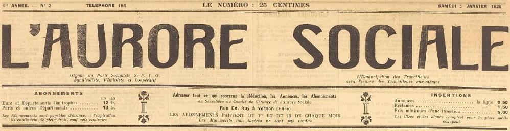 Photo (BnF / Gallica) de : L'Aurore sociale. Vernon, 1924-1925. ISSN 2117-6051.
