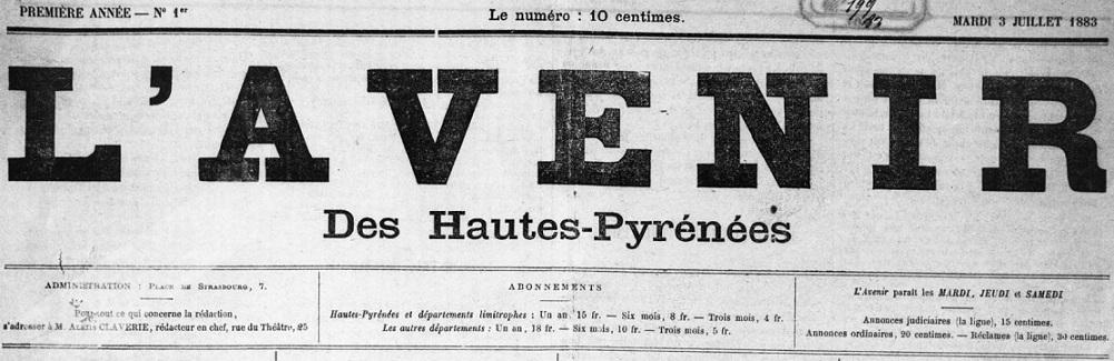 Photo (BnF / Gallica) de : L'Avenir des Hautes-Pyrénées. Bagnères-de-Bigorre, 1883-1944. ISSN 2271-9660.