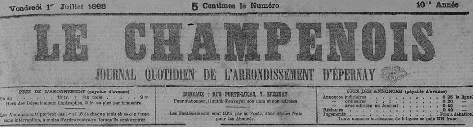 Photo (Bibliothèque municipale (Épernay, Marne)) de : Le Champenois. Épernay, 1889-1914. ISSN 2123-6356.