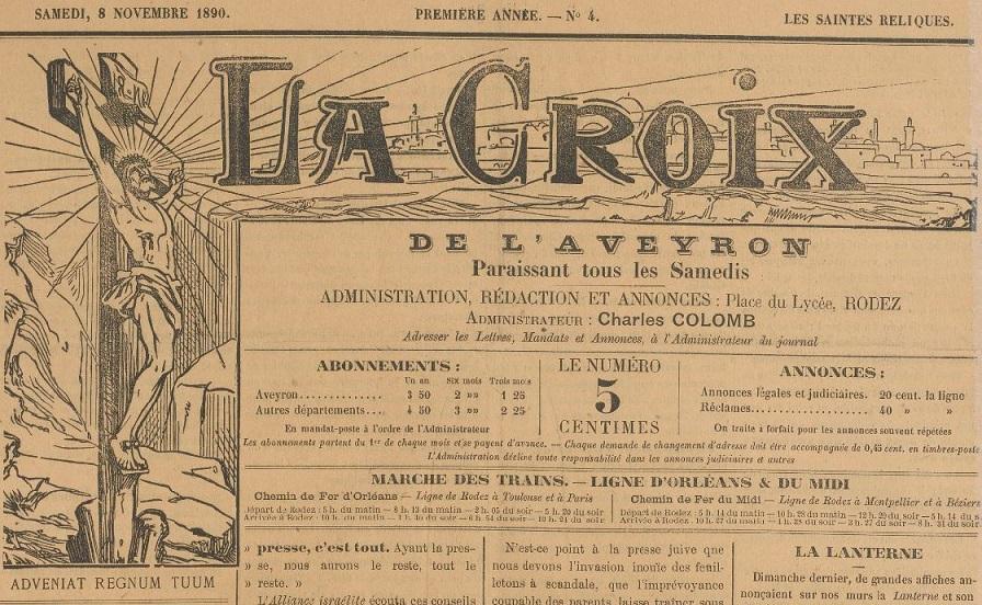 Photo (BnF / Gallica) de : La Croix de l'Aveyron. Rodez, 1890-1944. ISSN 2125-219X.