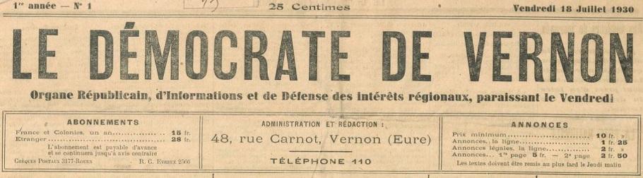 Photo (BnF / Gallica) de : Le Démocrate de Vernon. Vernon, 1930-1944. ISSN 2261-3587.