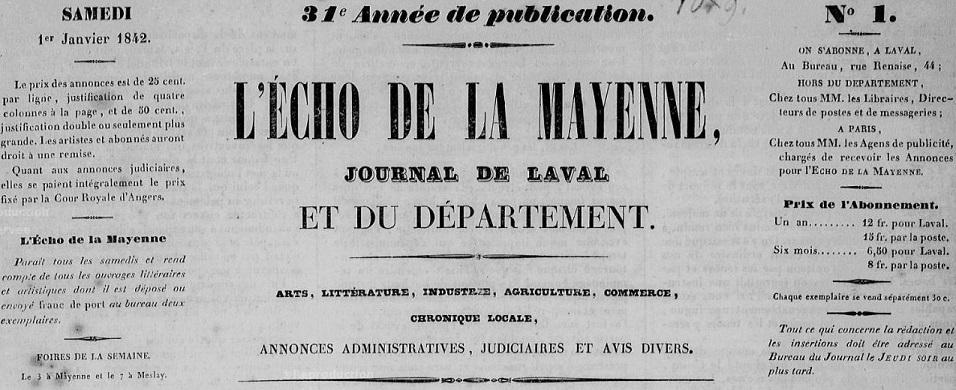 Photo (Bibliothèque municipale (Laval)) de : L'Écho de la Mayenne. Laval, 1842-1928. ISSN 2126-290X.