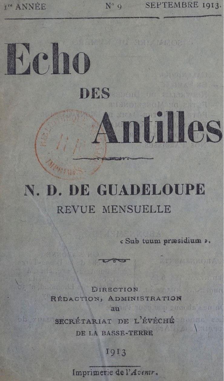 Photo (BnF / Gallica) de : Écho des Antilles. Basse-Terre, 1913-1918. ISSN 2427-7940.