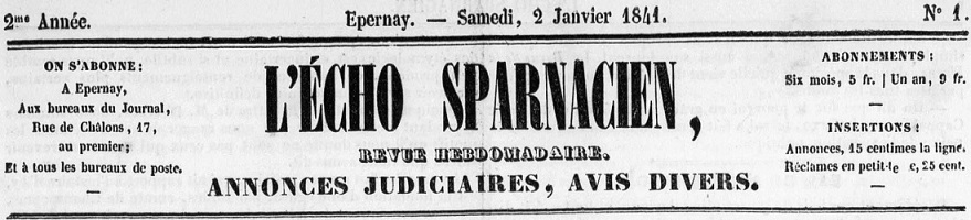 Photo (Bibliothèque municipale (Épernay, Marne)) de : L'Écho sparnacien. Épernay, 1840-1871. ISSN 2126-7855.