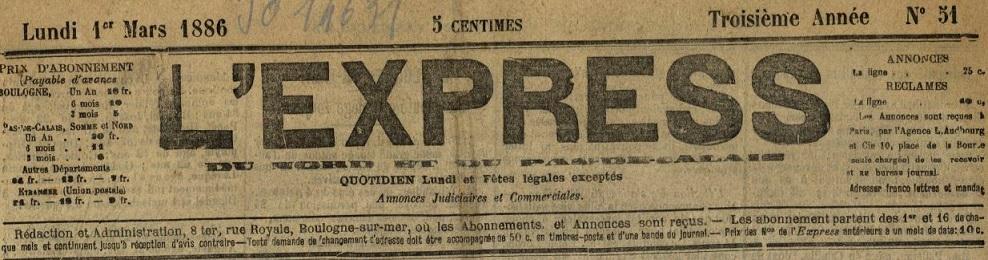 Photo (BnF / Gallica) de : L'Express du Nord et du Pas-de-Calais. Boulogne-sur-Mer, 1884-1905. ISSN 2127-7494.