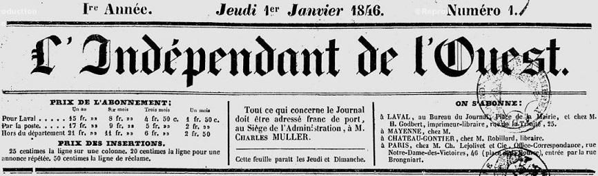 Photo (Bibliothèque municipale (Laval)) de : L'Indépendant de l'Ouest. Laval, 1846-1892. ISSN 2129-5212.